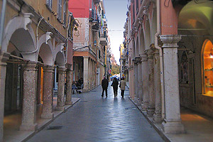 Colonnaded street of old town, Corfu