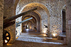 Dark vaults filled with canons in Fortress, Gjirokastra
