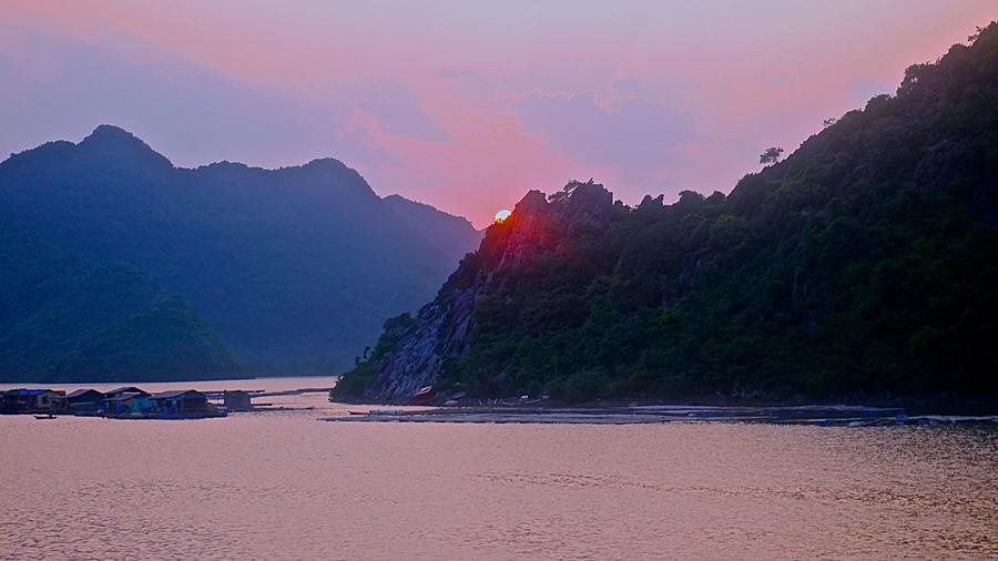 Ha Long Bay as the sun goes down