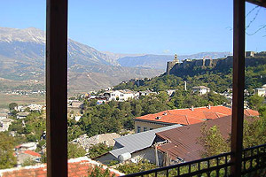 Kalemi Hotel balcony with views over the whole Drinos valley below to the Lunxheria Mountains beyond