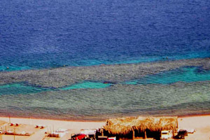 Located about 10km south of Dahab, the Three Pools consist of three coral towers which attract much sea life.