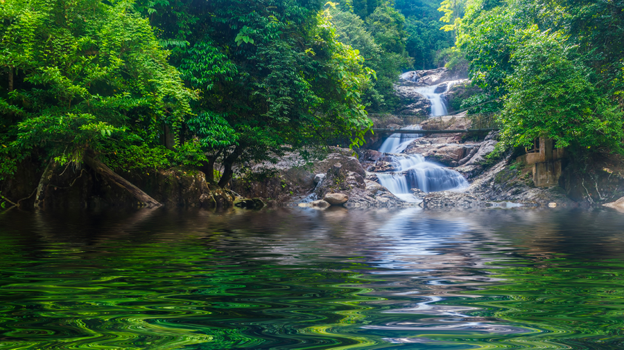 Small waterfall in one of the tributaries to Perak river