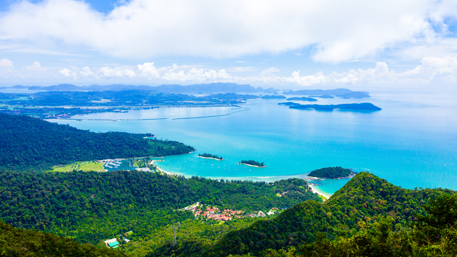 View of Malaysia coast from its hills