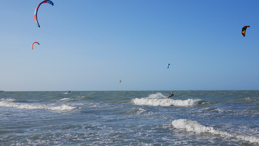 Kitesurfing in Jeri, Brazil