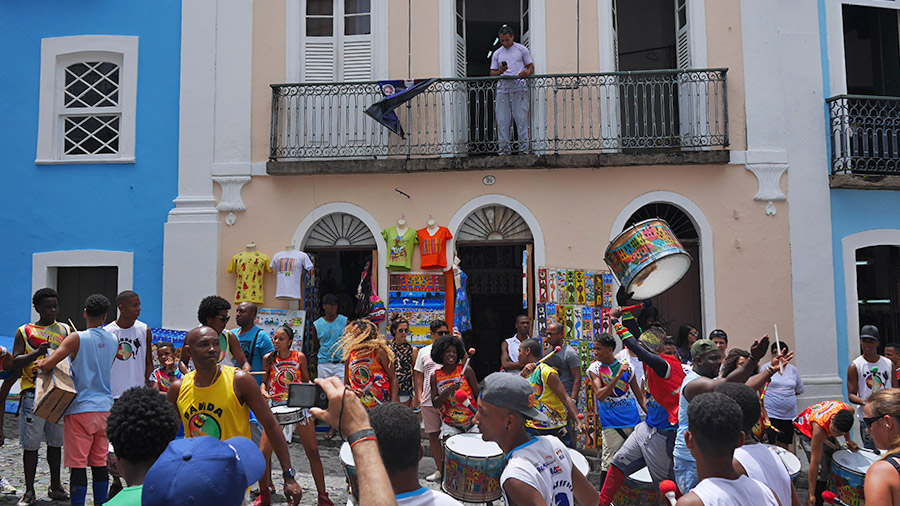 Live drum music in the streets of Pelourinho, Brazil